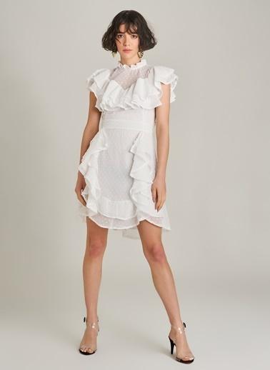 Agenda Volanlı Puantiyeli Elbise Beyaz